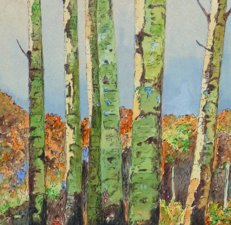 Vintage Watercolor Landscape - Birch Grove - Brown Landscape Art by Unknown