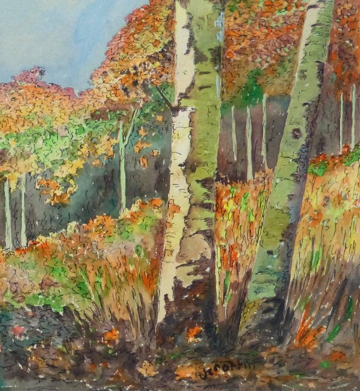 Vintage Watercolor Landscape - Birch Grove - Art by Unknown