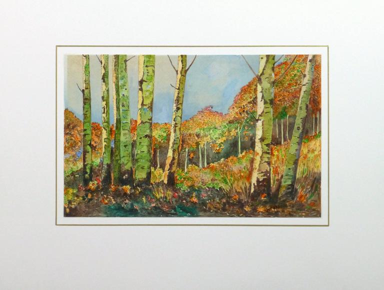 Exquisite ink and watercolor landscape of a birch grove rich in autumn colored foliage by J. Rottin, circa 1960. Signed lower right.