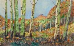 Vintage Watercolor Landscape - Birch Grove