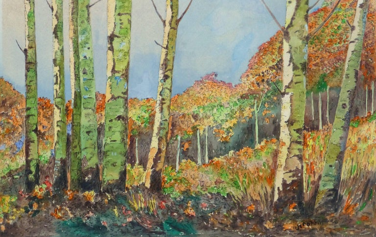 Unknown Landscape Art - Vintage Watercolor Landscape - Birch Grove
