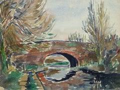Vintage Watercolor Landscape - Stone Bridge