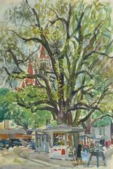 Vintage Watercolor Landscape - Street Kiosk
