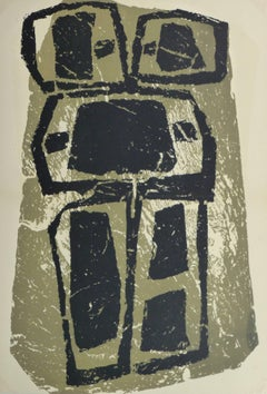 Vintage Abstract Lithograph - Slate Work