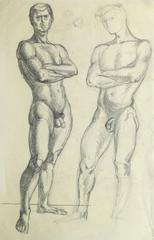 Vintage French Pencil Drawing - Male Nudes