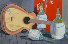 Vintage Wine and Music Still Life Painting