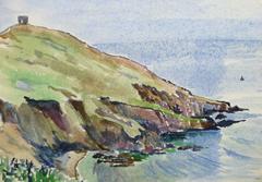 Vintage Watercolor Seascape - English Coast
