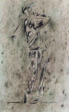 Vintage Monotype - Golfer