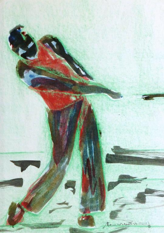 Vintage Monotype - Abstract Golfer