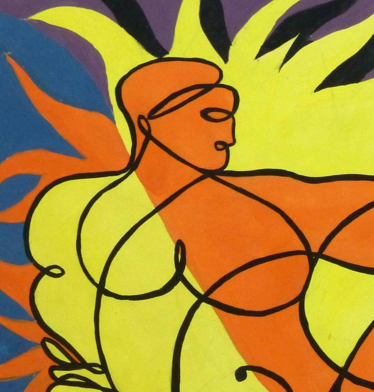Striking abstract acrylic painting of a nude male figure in a reclining pose and surrounded by vivid flames by Beugnet, circa 1950.   Original artwork on paper displayed on a white mat with a gold border. Mat fits a standard-size frame. Archival