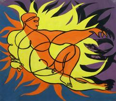 Vintage Modern Painting - Pose of Flames