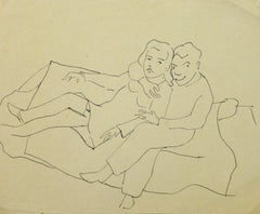 Vintage Pen & Ink Sketch - Close Couple