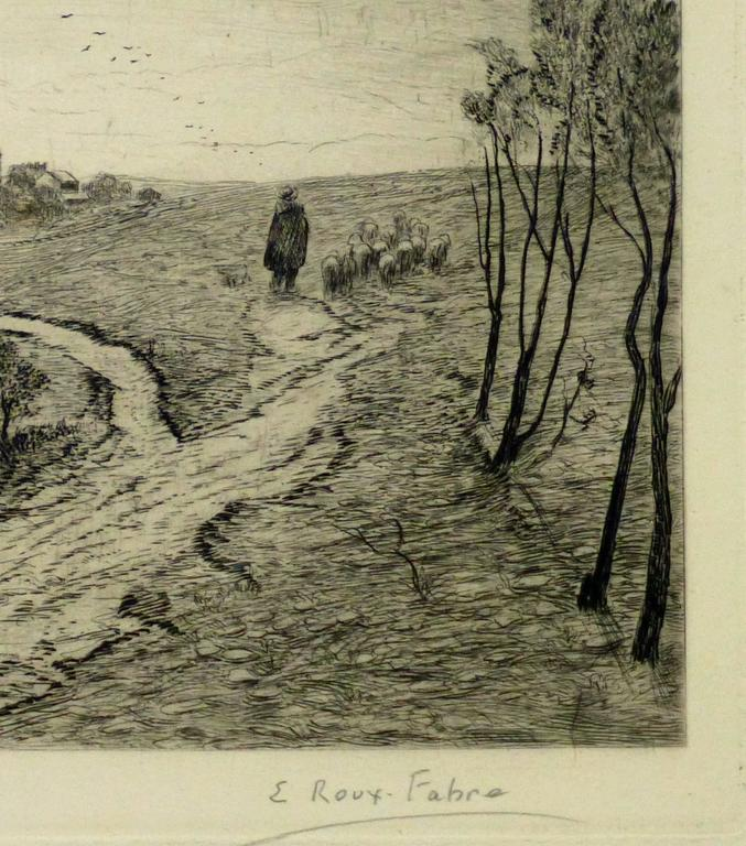 Vintage Landscape Etching - The Flock - Print by Emile Roux Fabre