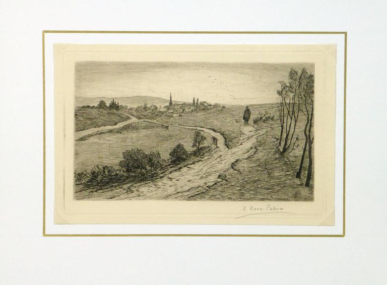 Vintage black and white etching of a farmer leading his flock of sheep to a pasture bordered by a small village by French artist Emile Roux Fabre, circa 1930. Signed in pencil lower right.   Original artwork on paper displayed on a white mat with a