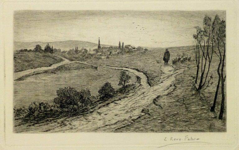 Emile Roux Fabre Landscape Print - Vintage Landscape Etching - The Flock