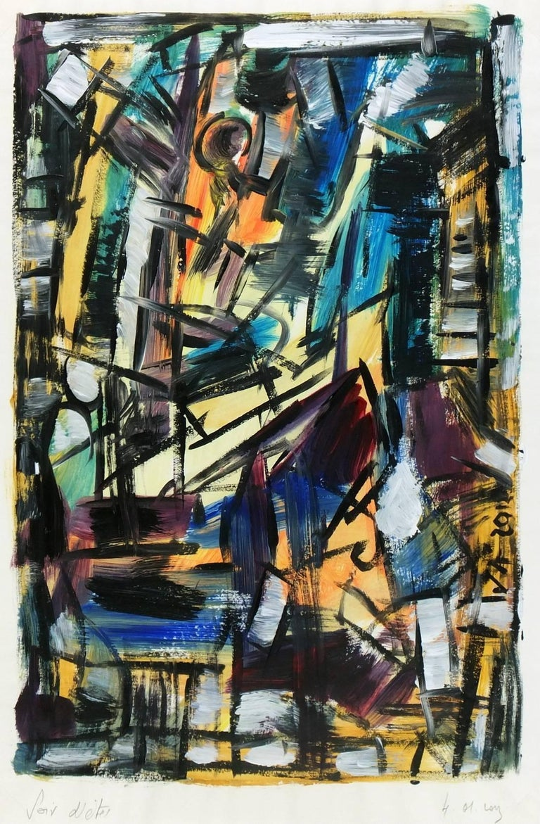Delightful acrylic abstract fusing light and airy colors with bold black lines by Jacques Alary, 2012. Signed and dated in painting and titled lower left.   Original artwork on paper displayed on a white mat with a gold border. Mat fits a