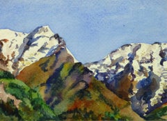 Vintage French Watercolor - Where the Mountains Meet