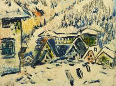 Vintage French Painting - Winter in the Alps