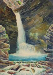 Vintage French Watercolor - Crystal Falls