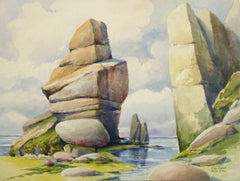 Vintage French Watercolor Seascape - Cape Fréhel, Brittany, France