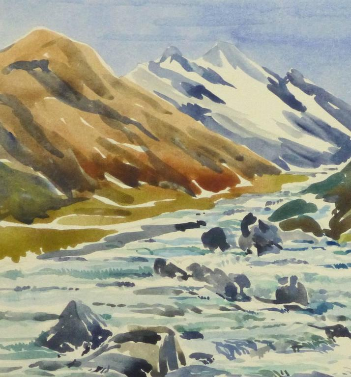 Vintage Watercolor Landscape - Center of the Peaks - Art by Unknown