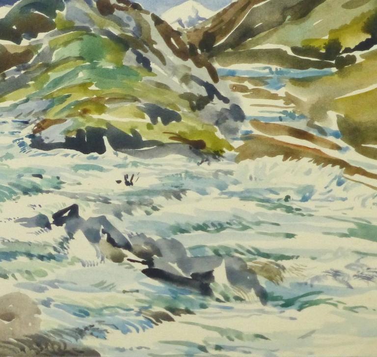Vintage Watercolor Landscape - Center of the Peaks - Gray Landscape Art by Unknown
