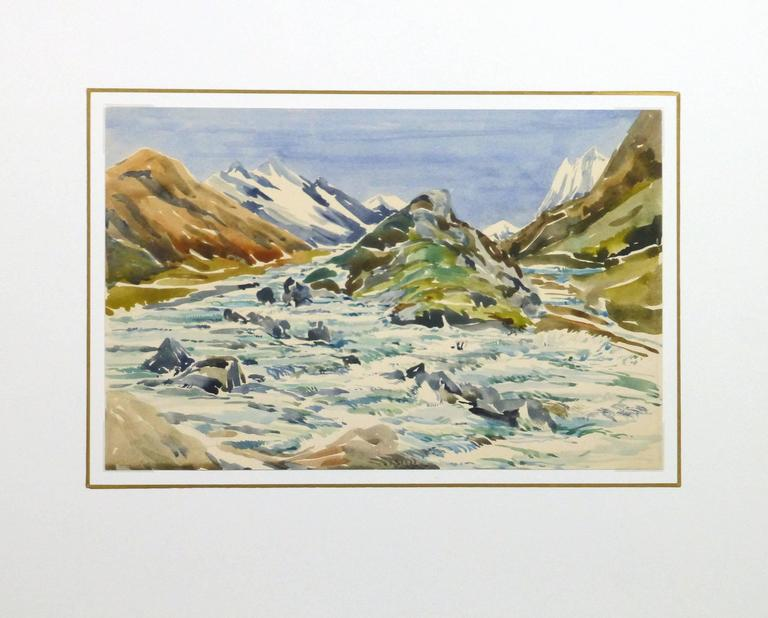 Soothing watercolor of a small grassy area encircled by jagged mountain peaks by A. Siegris, circa 1950.  Original artwork on paper displayed on a white mat with a gold border. Mat fits a standard-size frame. Archival plastic sleeve and Certificate