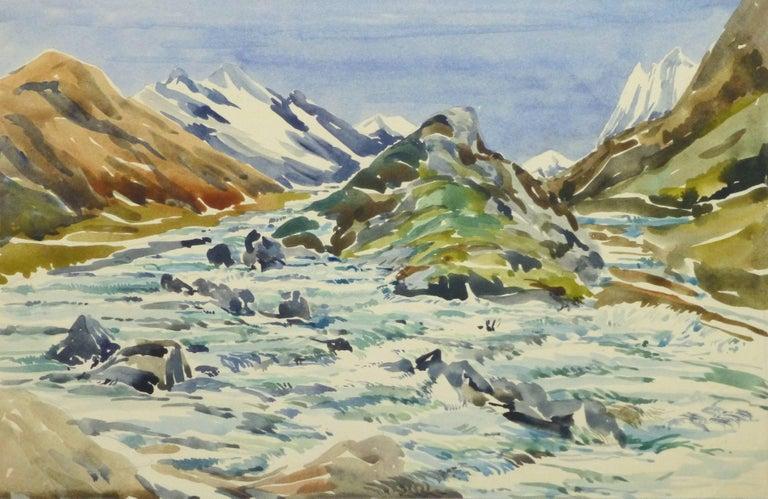Unknown Landscape Art - Vintage Watercolor Landscape - Center of the Peaks