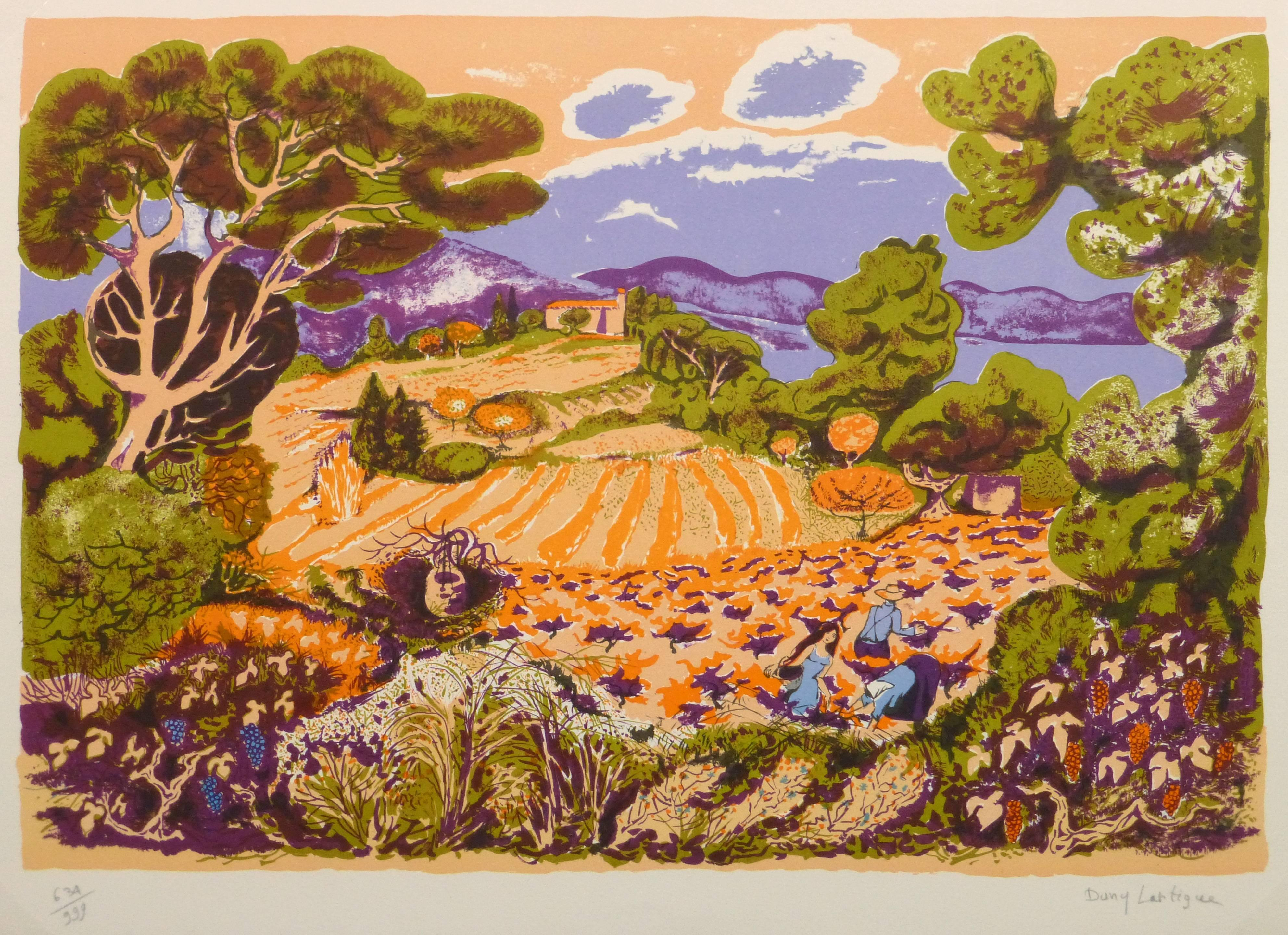 Vintage Stone Lithograph - Grape Harvest in a Colorful Vineyard