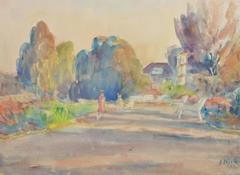Vintage Watercolor Landscape - Pastel-Toned Walk in the Park at Dusk