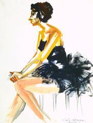 Vintage Gouache Portrait - Ballerina in Black