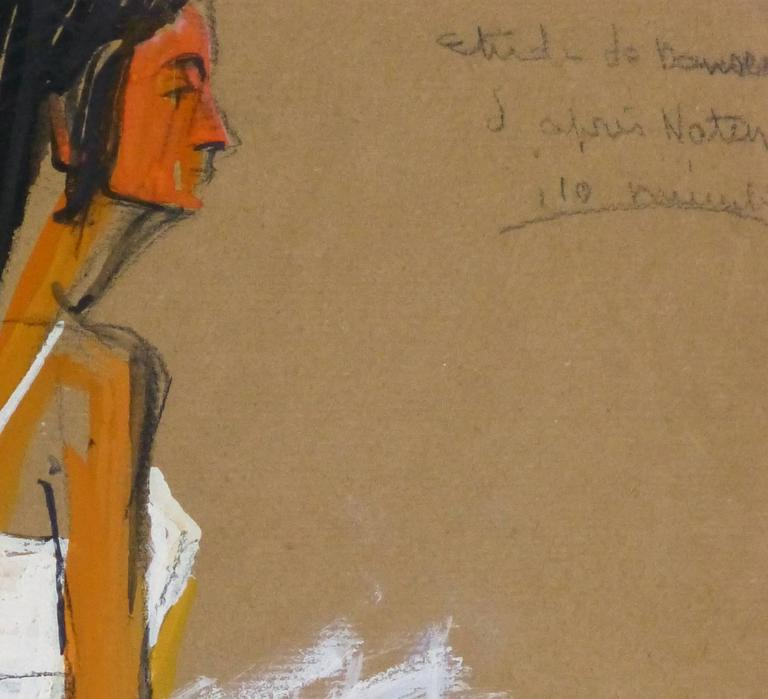 Vintage French Gouache - Ballerina in White - Painting by G. Lahousse