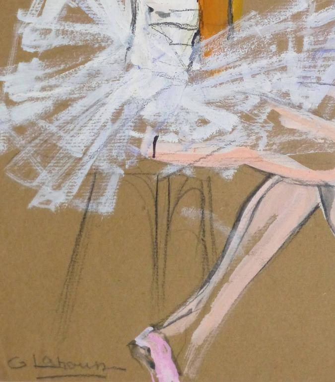 Vintage French Gouache - Ballerina in White - Brown Figurative Painting by G. Lahousse