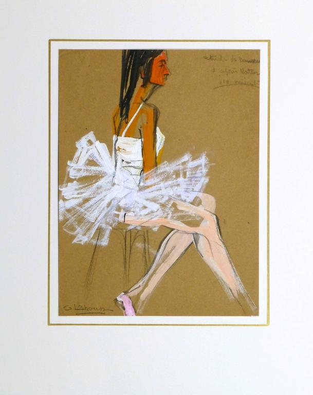 Vintage gouache painting of a ballerina seated in her pristine white costume by French artist G. Lahousse, circa 1960. Signed lower left.   Original artwork on paper displayed on a white mat with a gold border. Mat fits a standard-size frame.