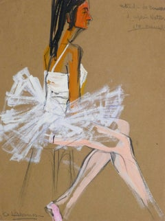 Vintage French Gouache - Ballerina in White