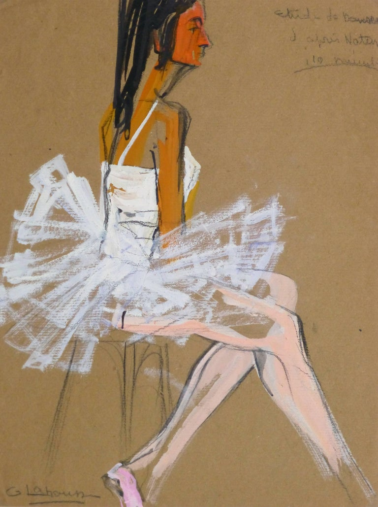 G. Lahousse Figurative Painting - Vintage French Gouache - Ballerina in White