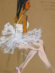 Vintage French Gouache - Ballerina in White