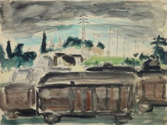 Vintage French Painting - The Rail Yard