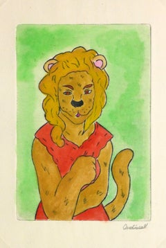 Etching - The Lioness Pastel Watercolor and Acrylic Anthropomorphic Lioness