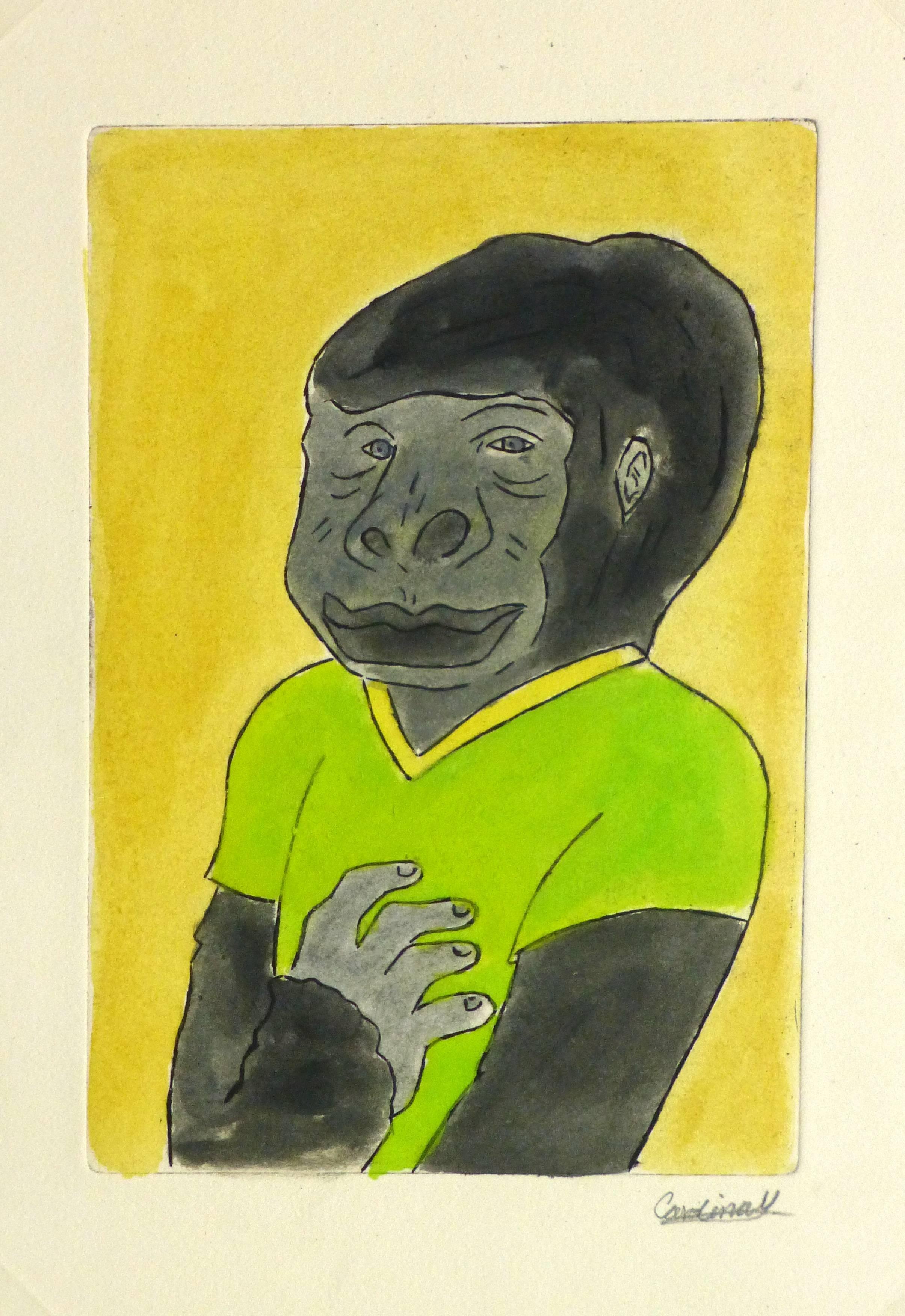 Etching - Gorilla Guy Pastel Watercolor and Acrylic Anthropomorphic Gorilla