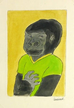 Etching - Gorilla Guy Pastel Watercolor and Acrylic Anthropomorphic Gorilla