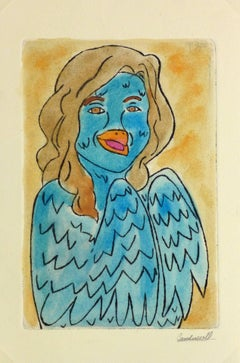 Etching - Blue Lady Pastel Watercolor and Acrylic Anthropomorphic Bird