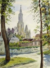 Vintage French Watercolor - City View
