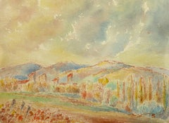 Vintage French Watercolor Landscape - Fall Colors in Provence Countryside