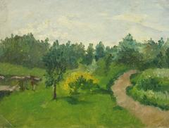 Vintage French Oil on Canvas- Garden Path