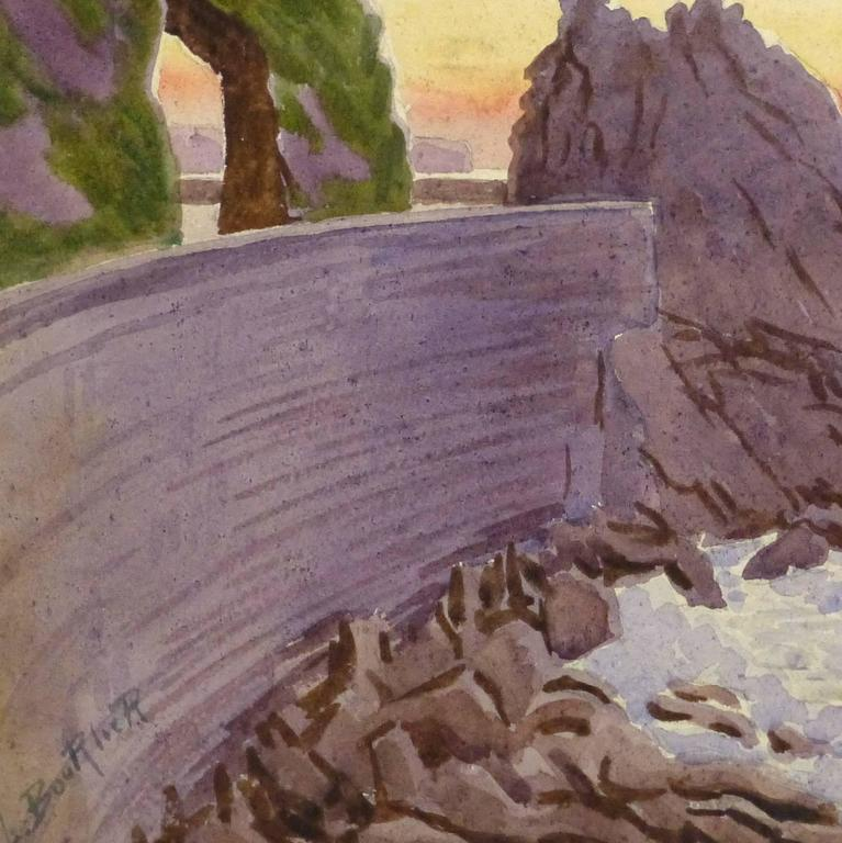 Vintage French Watercolor - Edge of the Riviera - Art by Unknown