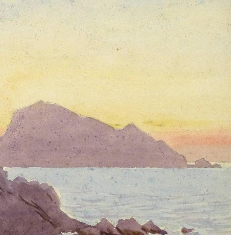 Vintage French Watercolor - Edge of the Riviera - Brown Landscape Art by Unknown