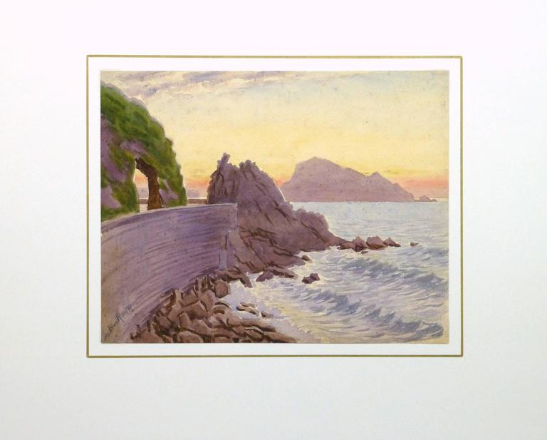 Striking watercolor of a beautiful sunset over a rocky shore along the French Riviera by French artist L. Bourlier, circa 1920. Signed lower left.   Original artwork on paper displayed on a white mat with a gold border. Mat fits a standard-size