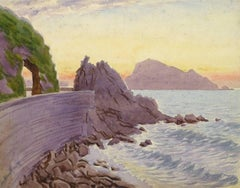 Vintage French Watercolor - Edge of the Riviera
