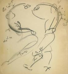 Vintage French Drawing - Abstract Dancers